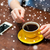 woman with smartphone and coffee stock photo © dolgachov
