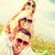 mosolyog · család · napszemüveg · pléd · nyár · ünnepek - stock fotó © dolgachov