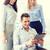 üzleti · csapat · szórakozás · táblagép · iroda · boldog · üzlet - stock fotó © dolgachov