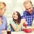 feliz · pequeño · chef · tazón · hortalizas - foto stock © dolgachov