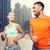 couple running over dubai city street background stock photo © dolgachov