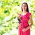 feliz · mulher · grávida · rosa · flor · gravidez · maternidade - foto stock © dolgachov