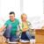 család · padló · nyitva · dobozok · új · otthon · mosolyog - stock fotó © dolgachov