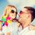 heureux · père · enfant · lunettes · de · soleil · ciel · bleu · été - photo stock © dolgachov