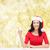 mosolygó · nő · mikulás · segítő · kalap · karácsony · tél - stock fotó © dolgachov