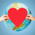 human hands holding red heart over earth globe stock photo © dolgachov