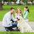 молодые · семьи · улице · ходьбе · парка · собака - Сток-фото © dolgachov