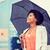 счастливым · афроамериканец · деловая · женщина · зонтик · бизнеса · погода - Сток-фото © dolgachov