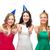 drie · vriendinnen · witte · geïsoleerd · meisje · glimlach - stockfoto © dolgachov