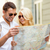 笑みを浮かべて · カップル · サングラス · 地図 · 市 · 夏 - ストックフォト © dolgachov