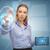 üzletasszony · táblagép · földgömb · hologram · üzlet · technológia - stock fotó © dolgachov