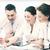 üzleti · csapat · dolgozik · tabletta · iroda · mosolyog · üzlet - stock fotó © dolgachov