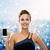 улыбающаяся · женщина · вечернее · платье · смартфон · технологий · связи · реклама - Сток-фото © dolgachov