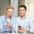 üzletember · üzletasszony · okostelefonok · üzlet · technológia · internet - stock fotó © dolgachov