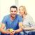 feliz · casal · potável · cacau · casa · lazer - foto stock © dolgachov