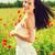 mulher · flores · campo · mulher · bonita · vestido · branco - foto stock © dolgachov