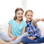 счастливым · школьницы · смеясь · вместе · сидят · домой - Сток-фото © dolgachov