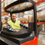 glimlachend · man · heftruck · magazijn · groothandel - stockfoto © dolgachov