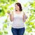 小さな · プラスサイズ · 女性 · リンゴ · ドーナツ - ストックフォト © dolgachov