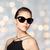 gyönyörű · fiatal · nő · elegáns · fekete · napszemüveg · kellékek - stock fotó © dolgachov