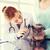 veterinario · mirando · oído · gato · clínica · mujer - foto stock © dolgachov