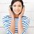 mutlu · genç · kız · büyük · kulaklık · resim · kadın - stok fotoğraf © dolgachov