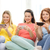 smiling teenage girls with smartphones at home stock photo © dolgachov