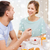 romântico · casal · café · da · manhã · juntos · papel · café - foto stock © dolgachov
