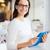 femme · souriante · regarder · ordinateur · affaires · geste - photo stock © dolgachov