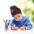 küçük · kız · renk · kalemler · resim · beyaz · çocuk - stok fotoğraf © dolgachov