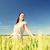 mosolyog · fiatal · nő · fehér · ruha · gabonapehely · mező · vidék - stock fotó © dolgachov