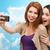 twee · jonge · tieners · gezichten · geluk - stockfoto © dolgachov