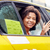 vrouw · paardrijden · auto · chauffeur · mooie · vrouw · glimlach - stockfoto © dolgachov