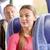 mutlu · genç · kadın · oturma · seyahat · otobüs · tren - stok fotoğraf © dolgachov