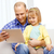 happy father and daughter with tablet pc computer stock photo © dolgachov