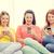 három · lányok · beszélget · okostelefonok · park · nők - stock fotó © dolgachov