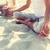 férfi · jóga · part · meditáció · égbolt · víz - stock fotó © dolgachov