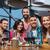 grupo · amigos · cena · toma · mesa - foto stock © dolgachov