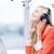 mujer · auriculares · feliz · escuchar · música · ordenador · trabajo - foto stock © dolgachov