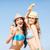 kettő · gyönyörű · fiatal · barátnők · bikini · tengerpart - stock fotó © dolgachov