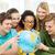 пять · улыбаясь · студент · земле · мира · школы - Сток-фото © dolgachov