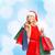 nő · vörös · ruha · bevásárlótáskák · vásár · ajándékok · karácsony - stock fotó © dolgachov