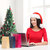 mosolygó · nő · mikulás · kalap · szatyrok · laptop · karácsony - stock fotó © dolgachov