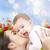 anne · oğul · çiçekler · yalıtılmış · beyaz - stok fotoğraf © dolgachov