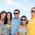 groep · gelukkig · vrienden · strand · zomer - stockfoto © dolgachov