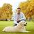 happy man with labrador dog in autumn city park stock photo © dolgachov