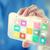 okostelefon · interfész · alkalmazás · kéz · tart · appok - stock fotó © dolgachov