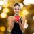 donna · sorridente · rosso · scatola · regalo · vacanze · presenta - foto d'archivio © dolgachov