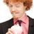 glimlachend · man · spaarvarken · knap · toevallig · roze - stockfoto © dolgachov