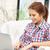 feliz · mulher · computador · portátil · quadro · internet · casa - foto stock © dolgachov